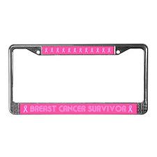 Retro Breast Cancer Survivor License Plate Frame