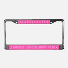 Retro Breast Cancer Survivor License Plate Frame
