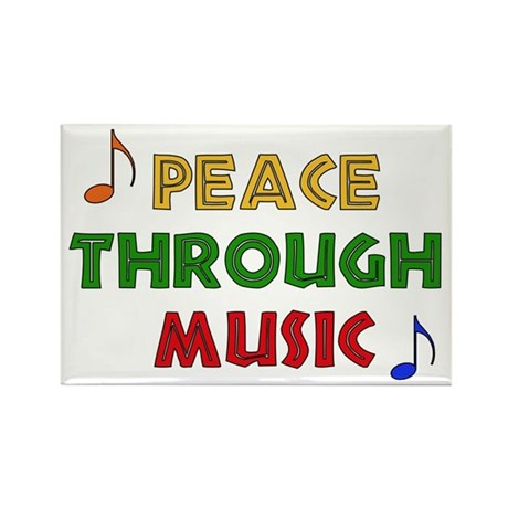 Peace Through Music Rectangle Magnet (10 pack)
