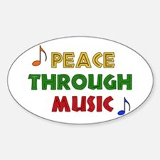 Peace Through Music Oval Decal