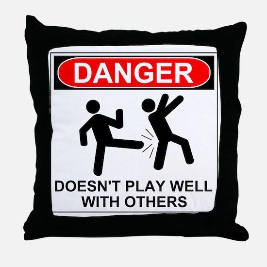 Cute Warning Throw Pillow