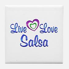 Live Love Salsa Tile Coaster