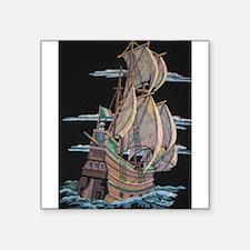 "Galleon On Velvet Square Sticker 3"" x 3"""