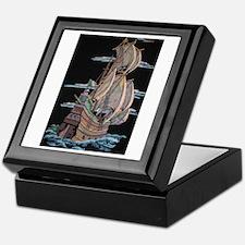 Galleon On Velvet Keepsake Box
