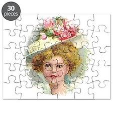 Edwardian Lady In Rose Hat Portrait Puzzle
