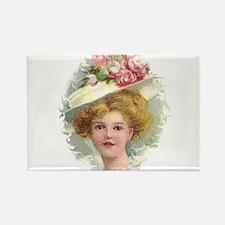 Edwardian Lady In Rose Hat Portrait Rectangle Magn