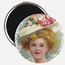 "Edwardian Lady In Rose Hat Portrait 2.25"" Magnet ("