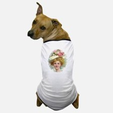 Edwardian Lady In Rose Hat Portrait Dog T-Shirt