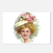 Edwardian Lady In Rose Hat Portrait Postcards (Pac