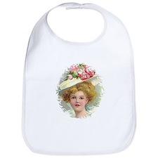 Edwardian Lady In Rose Hat Portrait Bib