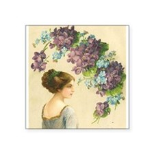 Edwardian Lady And Purple Flowers Square Sticker 3