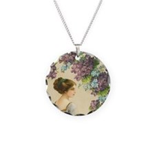 Edwardian Lady And Purple Flowers Necklace