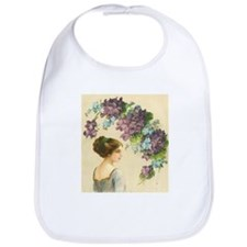Edwardian Lady And Purple Flowers Bib