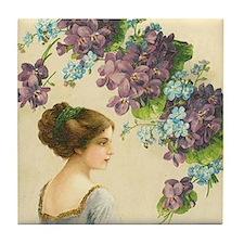 Edwardian Lady And Purple Flowers Tile Coaster