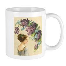 Edwardian Lady And Purple Flowers Mug
