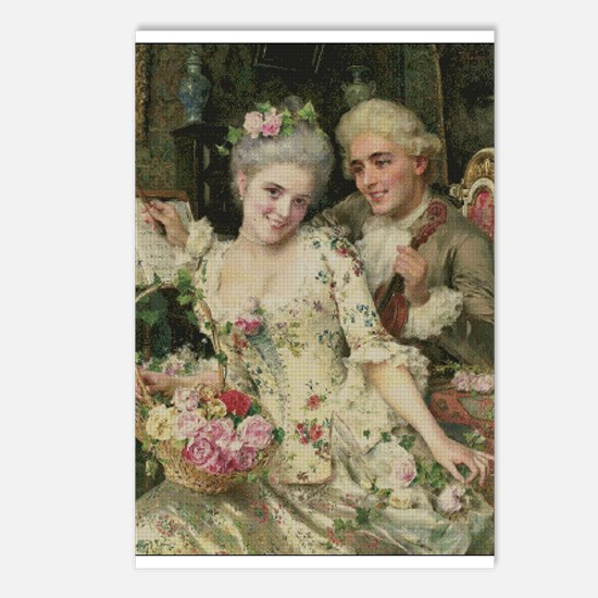 Rococo Couple In Love Postcards (Package of 8)