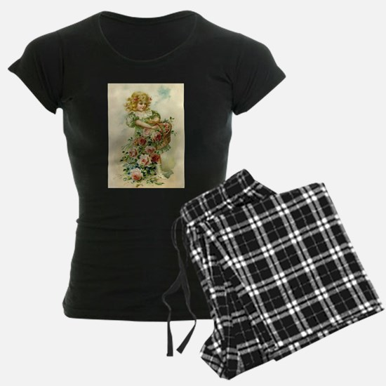 Little Victorian Girl With Flower Basket Pajamas