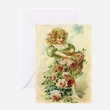 Little Victorian Girl With Flower Basket Greeting