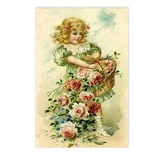 Little Victorian Girl With Flower Basket Postcards