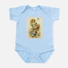 Little Victorian Girl With Flower Basket Infant Bo