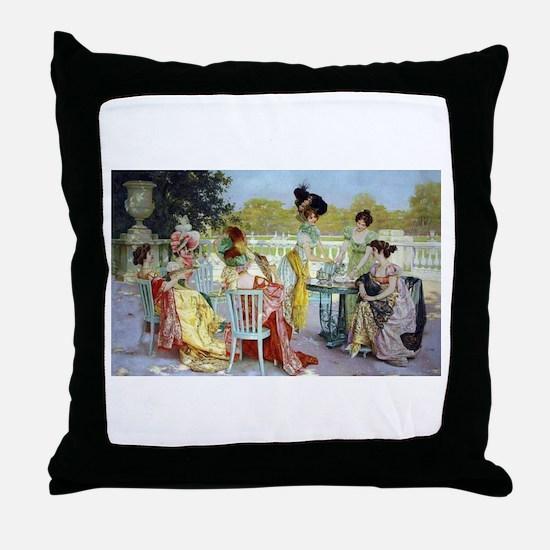 Regency Ladies Tea Party Throw Pillow