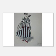 Pretty Georgian Lady 3 Postcards (Package of 8)