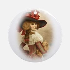 The Perfect Colonial Lady W Dog Ornament (Round)
