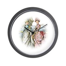 Portrait Of Victorian Duo Wall Clock