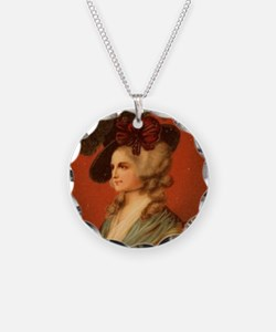 Colonial Lady In Red Chair Necklace