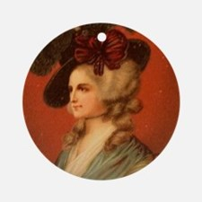 Colonial Lady In Red Chair Ornament (Round)