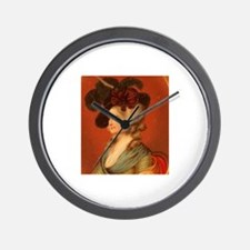 Colonial Lady In Red Chair Wall Clock