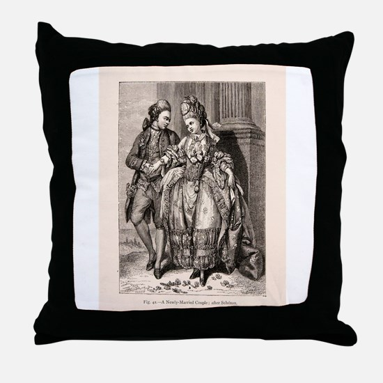 Old Flirting Married Couple Print Throw Pillow