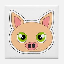 Cute Sad Cartoon Pig Tile Coaster