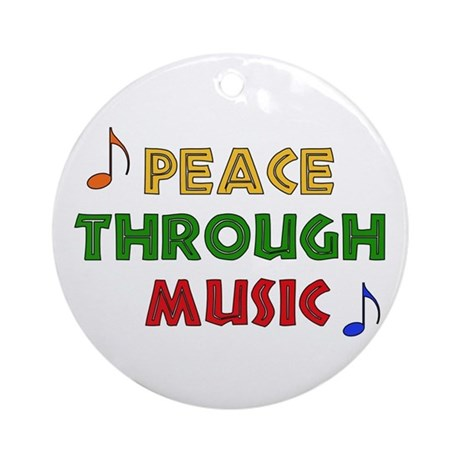 Peace Through Music Ornament (Round)