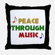 Peace Through Music Throw Pillow