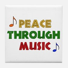 Peace Through Music Tile Coaster