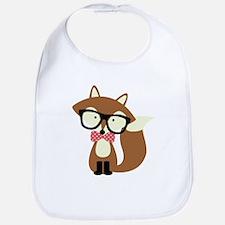 Hipster Brown Fox Bib
