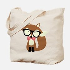 Hipster Brown Fox Tote Bag