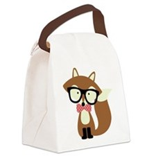 Hipster Brown Fox Canvas Lunch Bag