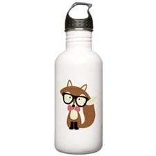 Hipster Brown Fox Water Bottle