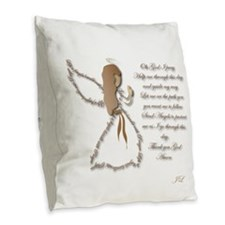 Life Is Fragile Angel Burlap Throw Pillow