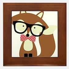 Hipster Brown Fox Framed Tile