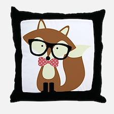Hipster Brown Fox Throw Pillow