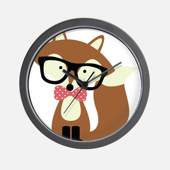 Hipster Brown Fox Wall Clock