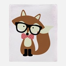 Hipster Brown Fox Throw Blanket