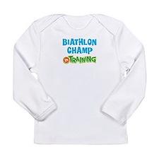 Biathlon champ in train Long Sleeve Infant T-Shirt