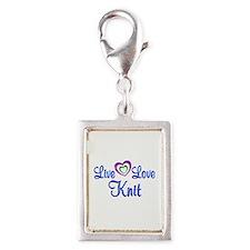 Live Love Knit Silver Portrait Charm