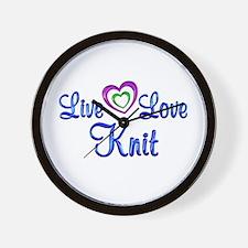 Live Love Knit Wall Clock