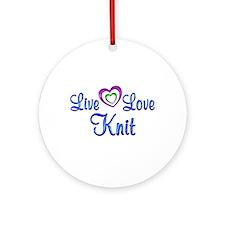 Live Love Knit Ornament (Round)