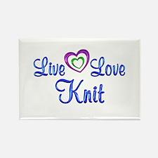 Live Love Knit Rectangle Magnet